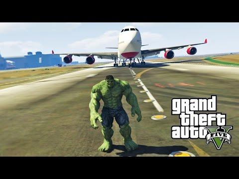 GTA 5 Моды: Халк против Самолета!