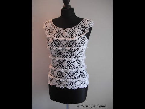 how to crochet ruffle blouse by marifu6a free crochet pattern tutorial