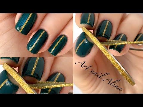 Дизайн ногтей с фольгированной лентой