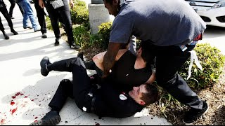 Protest in California. Anti Trump. April 26, 16.  Anaheim. Kids splashed with pepper spray
