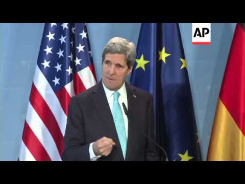 Kerry meets Steinmeier and Merkel, comments on Syria, Ukraine and NSA