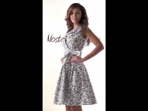 Nostalgic Vintage Summer Dress with Bow in Floral Prints 028