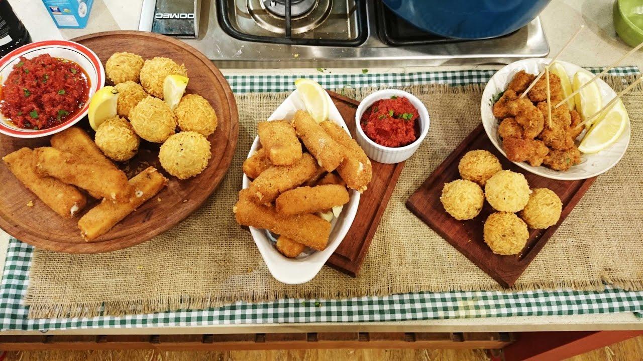 Bombas de papa y carne y mozzarellitas fritas crocantes