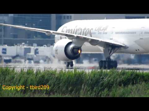 Emirates Airlines Engine Fire On Arrival At Boston [HD] - August 10, 2014