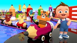 Learning Colors for Children with Animals Pencils Cars Play Super Crazy Baby Pool Slides 3D for Kids