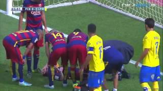 Leo Messi's knee injury in Barcelona - Las Palmas 2-1 26.09.2015