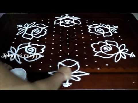 Latest Rose Flowers rangoli designs with 15 - 8 middle | chukkala muggulu with dots| rangoli design