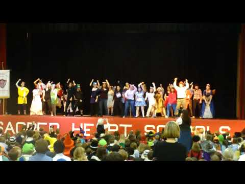 Sacred Heart Academy Hardy Prep Halloween Faculty on Stage