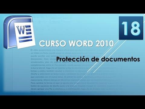 Curso Word 2010 AV. Protección de documentos. Vídeo 18