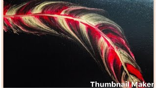 (168) How to String pull acrylic painting Feather