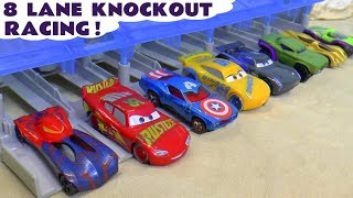 Cars McQueen and Hot Wheels Avengers 8 Lane Knockout Racing TT4U