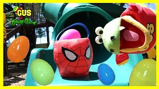 Easter Eggs Hunt for Kids at the Playground Park for surprise candy with Gus the Gummy Gator!