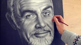 Sean Connery speed drawing portrait dry brush (How To Paint)