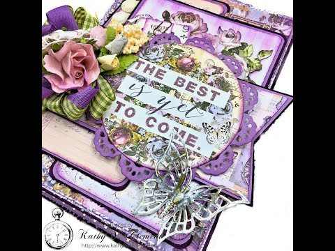 How to Create a Layered Shabby Chic Card Tutorial with Prima Lavender by Kathy Clement for The Funki