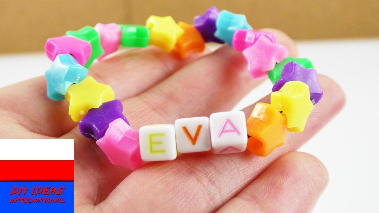 Urocza bransoletka z kolorowych koralików | prosty pomysł dla dzieci | gwiazdki i literki