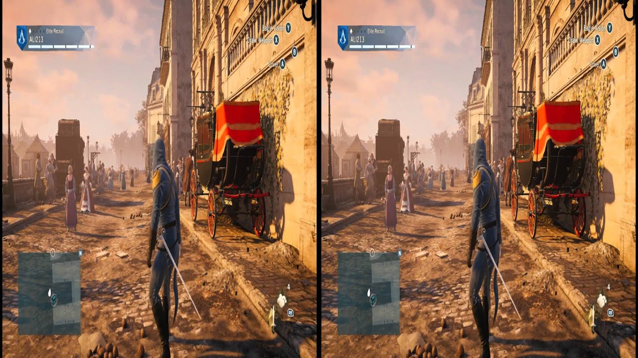4K 3D Assassins Creed Unity Beautiful Game Side By Side