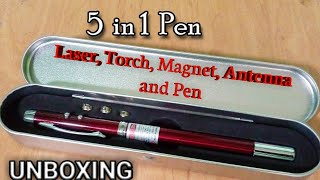 UNBOXING || DFS 5 In 1 Multipurpose Antenna Pen With Torch, Laser, Pointer, Magnet, And Pen