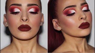 Cranberry Red Half Cut Crease   Makeup Tutorial