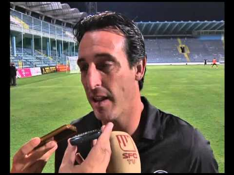 Declaraciones Unai Emery, tras el partido en Podgorica. 08/08/13. Sevilla FC