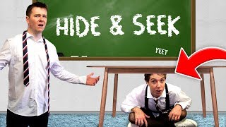 CLICK PLAYS HIDE AND SEEK IN A SCHOOL