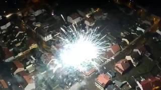 Bílina - oslava nového roku 2018 (z dronu)