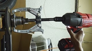 Pulling wheel bearing race with welder