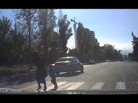 Lucky Pedestrians: Mom and Daughter