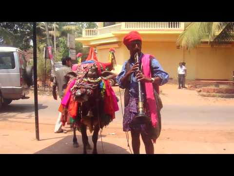 Indian Flute and Dancing Cow - GOA India Holy Cow!