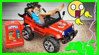 SPIDERMAN RIDE-ON CAR - ELECTRIC Car Toy Kids Show - Power Wheels Surprise Unboxing
