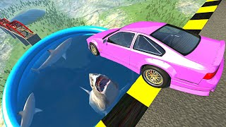 Beamng drive - Open Bridge Crashes over Pool of Hungry Sharks