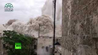 Video: Huge explosion levels govt-controlled hotel in Aleppo, (Syria)  5/8/14