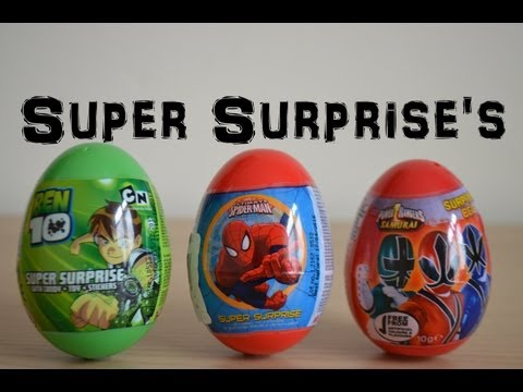 Surprise Eggs Ben 10 Marvel Spiderman Power Rangers Samurai Cartoon Network Easter Eggs