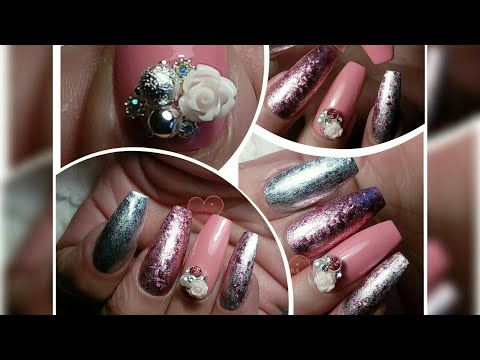 Silver pink coffin nails with 3D rhynestones DIY