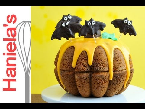 How To Make Halloween Pumpkin Cake. Chocolate Bat Toppers Tutorial