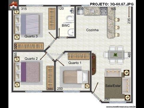 Plantas de casas de 3 quartos youtube for Jardins mangueiral planta 3 quartos