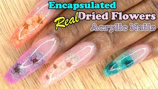 Encapsulated Real Dried Flowers   Acrylic Nails   LongHairPrettyNails