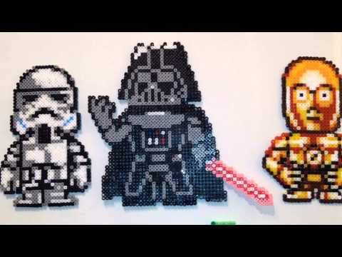 STAR WARS - CUSTOM MADE - HAMA BEAD FRIDGE MAGNETS - BOBA FETT, C-3PO, DARTH VAD