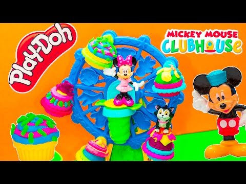 PLAY DOH Disney Minnie Mouse Play Doh Cupcake Celebration Minnie's Birthday Party Video Toy Review