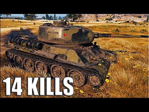 14 фрагов за бой на Т-34-85М