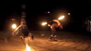 Fire Twirling Duo - Double Fire Fun