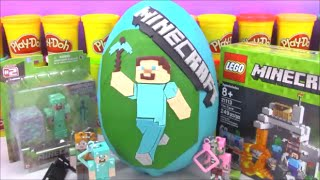 Huge Minecraft Steve Giant Playdoh Surprise Egg with Lego Toys and Blind Boxes