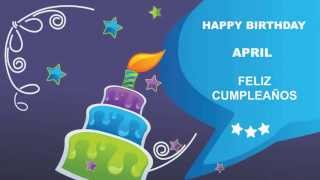 April - Card Tarjeta - Happy Birthday