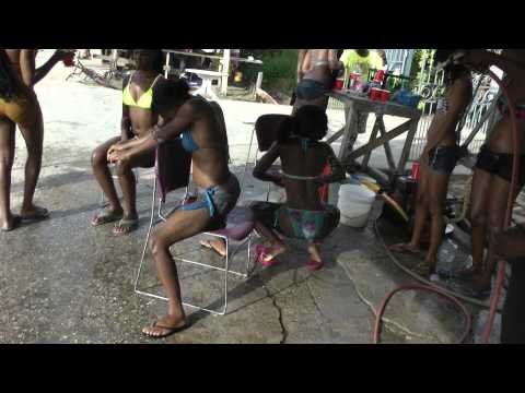 Bikini Girl At Wash Bay in Guyana Annandale 2014 pt3