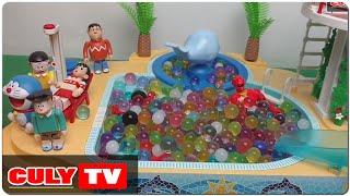 đồ chơi Doremon hài - siêu nhân gao matxa bi nước đã nở cùng nobita người nhện nobita tắm hồ bơi
