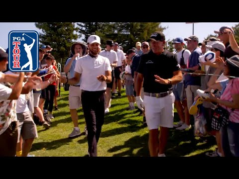 Stephen Curry and Phil Mickelson at the Safeway Open Pro-Am
