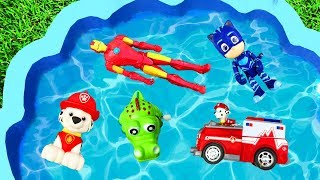 Learn Colors with Pj Masks Toys - Pool Toys For Kids - Animals Paw Patrol Learn Colors