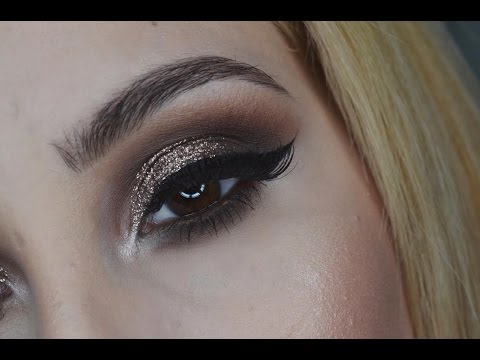 Brown And Gold Glitter Smokey Eye• Makeup Turorial♡