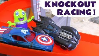 Batman and Avengers Hot Wheels Cars Knockout Race with the funny Funlings - Toy story for kids TT4U
