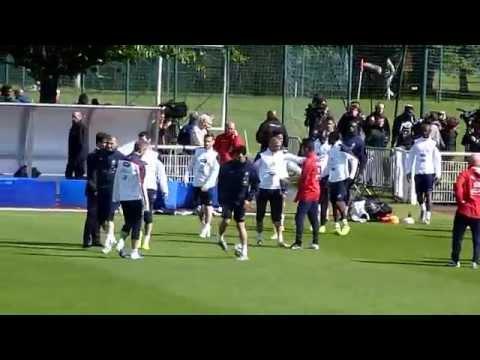 Karim Benzema, Loic Remy, Raphael Varane a Clairefontaine