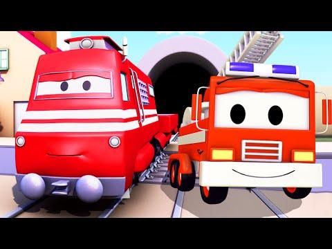 Поезд Трой и Пожарная машина в Автомобильный Город |Мультфильм для детей